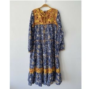 NWOT Zara Floral Boho Peasant Tiered Maxi Dress M